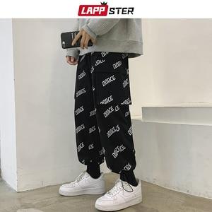 Мужские штаны-шаровары LAPPSTER Harajuku, черные шаровары с буквенным принтом, 2020, Мужская Уличная одежда с карманом, спортивные штаны в стиле хип-хо...