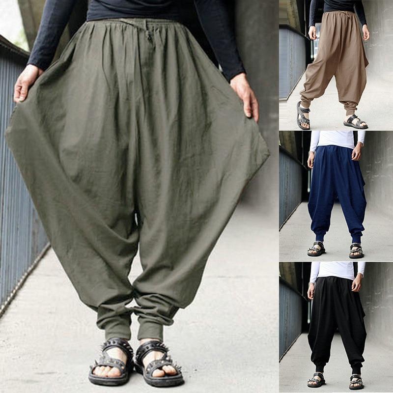 S-5XLPlus Size Mens Vintage Hippy Boho Aladdin Harem Wide Leg Ninja Trousers Casual Nepal Mens Jogger Full Length Pants Bloomers