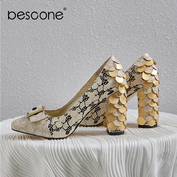 BESCONE Mature Women Pumps Butterfly-Knot Decoration High Quality Cow Leather Slip-on Square Heel Shoes New Fashion Pumps BO562