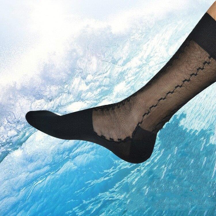 Tube Socks Men's Stocking Silk Socks Business Dress Stockings Sheer Socks Exotic Formal Wear Suit Men Sexy Transparent TNT Socks