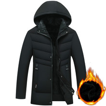 Mens Down Cotton Jacket and Thick Parkas Winter Hooded Coat Suit