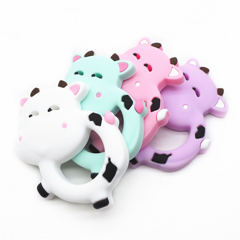 Chenkai 1pc Silicone Milk Cow Teether DIY Baby Chewing Pendant Nursing Sensory Teething Pacifier Dummy Jewelry Animal Toy