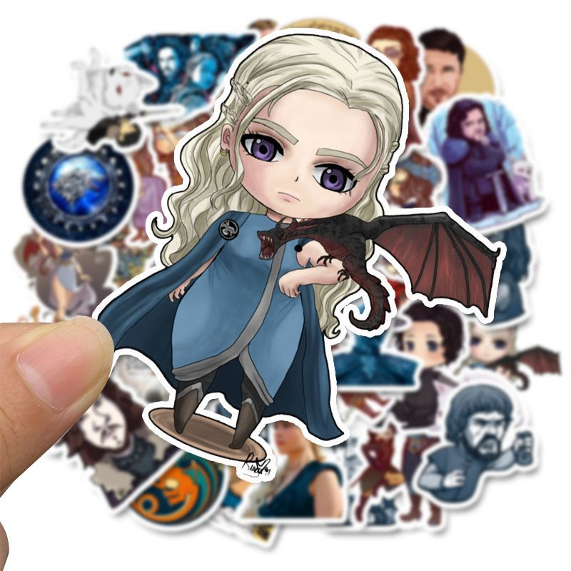 50pcs Cartoon Stickers Game Of Thrones Stickers War TV Series For Luggage Car Laptop Notebook Decal Fridge Skateboard Sticker F4