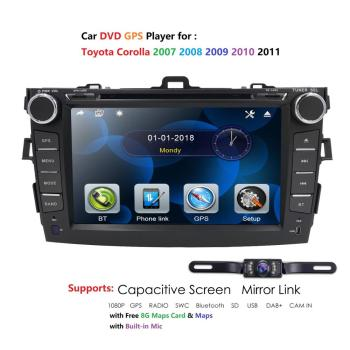 Multimedia Car DVD Player for COROLLA 2006 2007 2008 2009 2010 2011 car with GPS auto Radio Audio SD USB host BT TV FM IDAB+ Map image