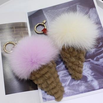 Fox fur ball pendant ice cream cone furry pendant cute ball bag pendant furry key chain