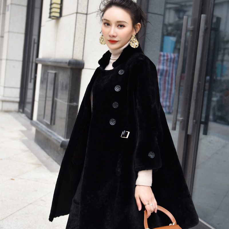 Sheepskin 2020 Real Fur Coat Female Natural Sheep Shearling Coats Medium Long Winter Jacket Women Chaqueta Mujer 9013          S