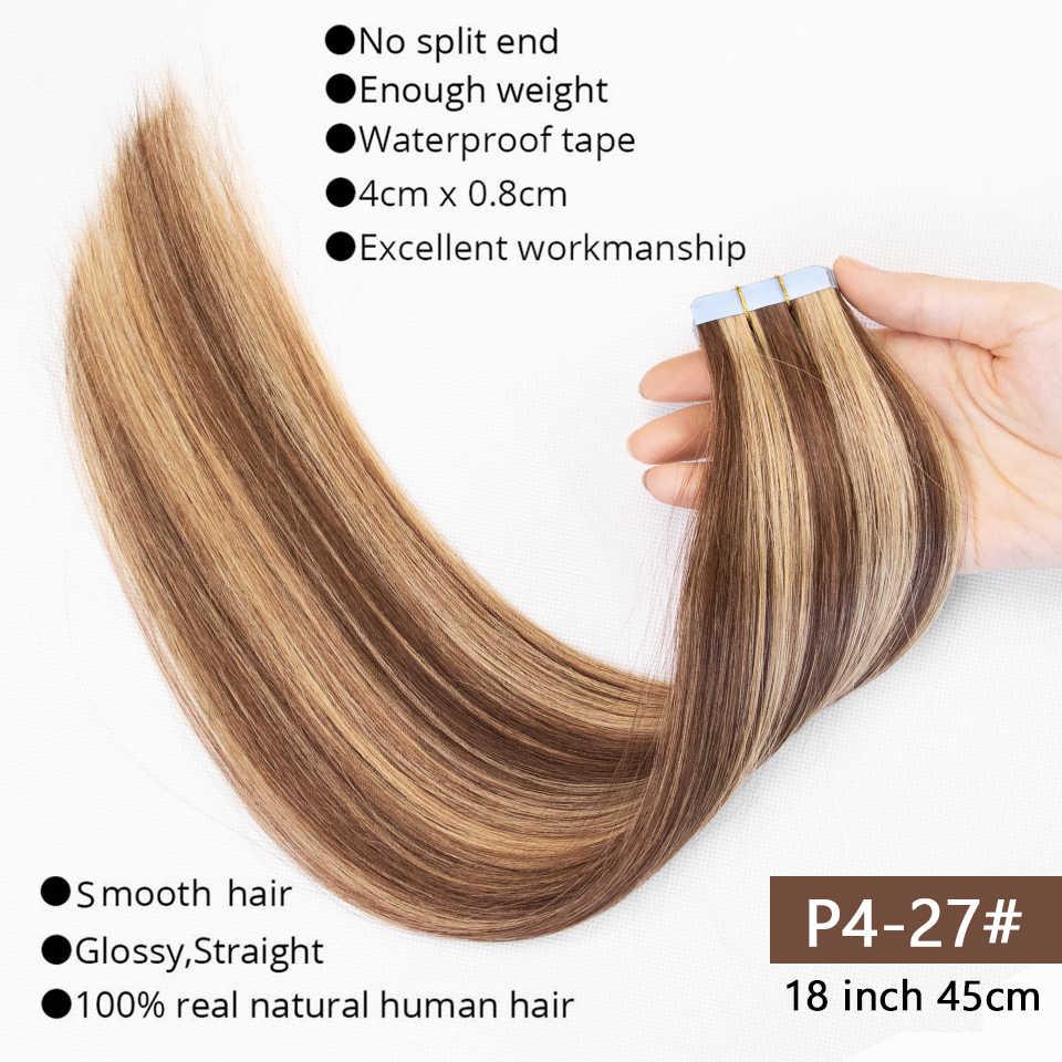 MRSHAIR Band in Extensions Haut Schuss Klebeband in Menschliches Haar Extensions Invisible Nicht-remy Gerade Blonde Braun Schwarz 20pc