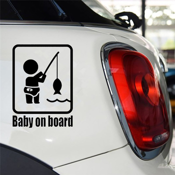 Car Stickers Funny Fishing Baby on Board Car Vehicle Reflective Decals Sticker Decoration Auto Products Car Accessories 2