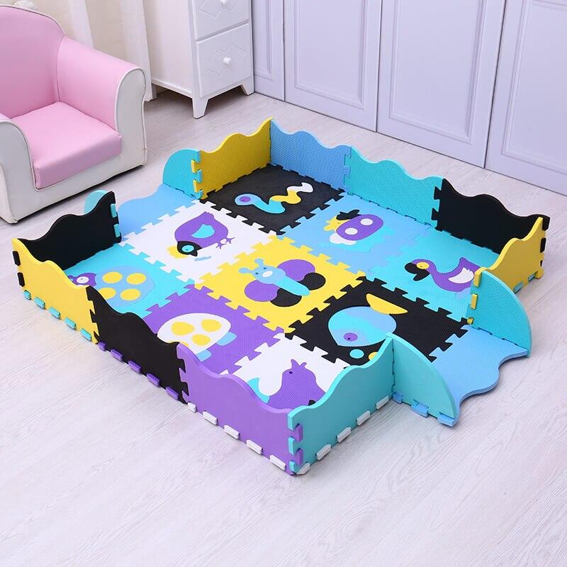 EVA bébé tapis de jeu 9 pièces mousse puzzle tapis pour enfants gym bébé activité doux étage numéros animaux modèle jouets Mei Qi Cool - 3
