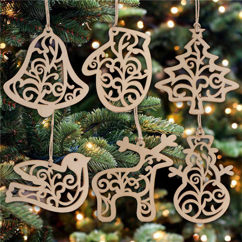 6Pcs Christmas Tree Ornaments Hanging Xmas Tree Party Decor Wooden Pendant Christmas Tree Snowman Hollow Out New Year'S Decor