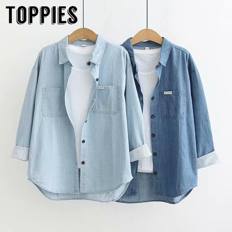 Freizeit Denim Hemd Herbst 2019 Frauen Blau Taste Shirts Frauen Langarm Tops Freund Stil Streetwear