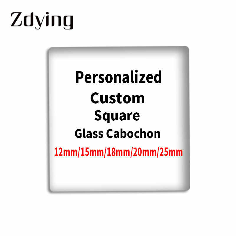 Zdying Personalized 12/15/18/20/25 Mm Kustom Square Kaca Cabochon Foto Gambar Demo Datar kembali DIY Temuan Perhiasan