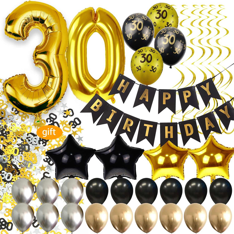 1 Set 30/40/50/60th Birthday Party Decorations 40 Inch Aluminum Foil Number Ballon Happy Birthday Banner Black Gold Balloons