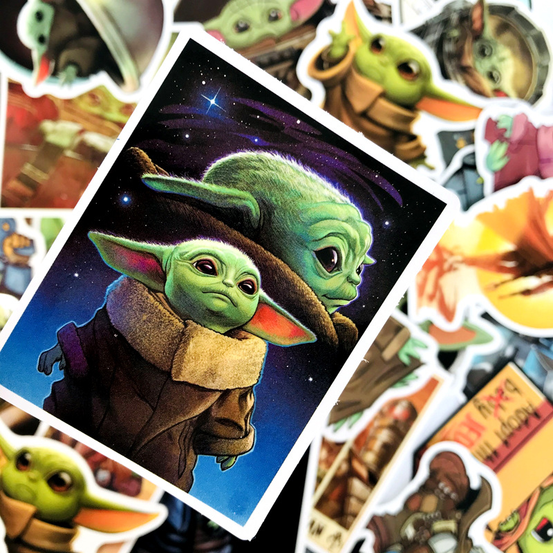 50PCS Baby Yoda Star Wars The Mandalorian Stickers For DIY Laptop Skateboard Home Decoration Car Scooter PVC Decals Sticker Toy