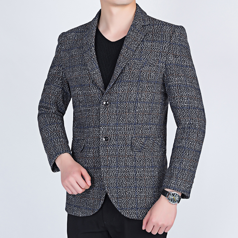UYUK2019 Winter New Trend Temperament Fashion High Quality Business Short Paragraph Two Buckles Men's Plaid  Blazer