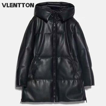 Veste longue, épaisse et chaude pour femmes, Parkas, manteau ample, avec fermeture éclair, sweat à capuche en cuir, hauts 1