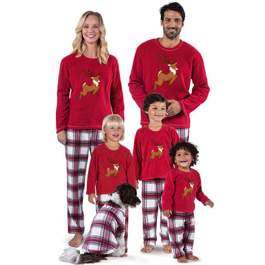 Christmmas Mother And Me Famliy Pajamas Set Nightwear Home Party Warm Mooose Print Dad Mom Sleepwear Family Look Matching Outfit