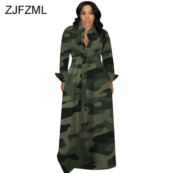 Fall Winter Camouflage Long Dresses Women Long Sleeve Slim Maxi Plus Size Dress Causal Turn-Down Collar Button Up Shirt Dress plus button up pocket front pinstripe cami dress