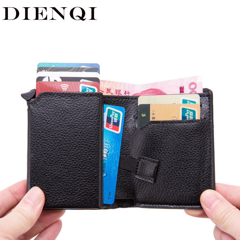 DIENQI Rfid Card Holder Men Wallets Money Bag Male Vintage Black Short Purse 2020 New Small Leather Slim Mini Smart Wallet Women