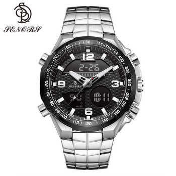 Senors Männer Dual Display Armbanduhr Digitale Uhr Sport Quarz Uhren Top Marke Luxus Edelstahl Uhr Gehäuseboden Relogio