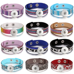 Wholesale Snap Button Jewelry Bracelet Handmade Crystal Rhinestone Leopard Leather Snap Bracelet Fit 18mm Snap Buttons Jewelry