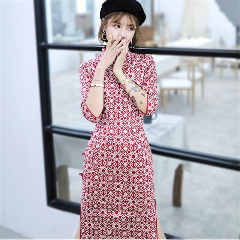 New Red Deerskin Down Printing Girl Cheongsam Dress Seven Part Sleeve Long Fund Improvement Daily Cheongsam