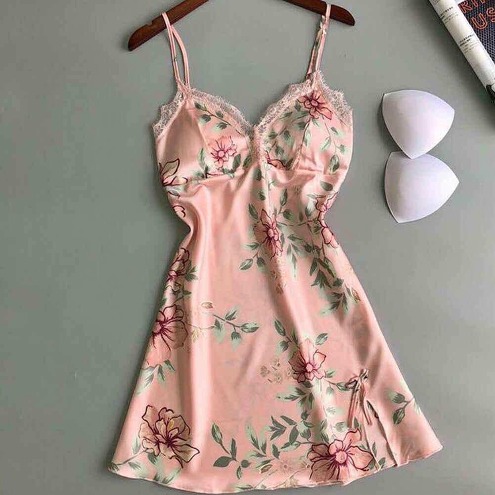 Mulheres sexy sleepwear cetim de seda babydoll rendas pijamas conjunto sexy senhoras vestido de sono renda mini vestidos