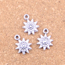 28 Uds dijes sun 17x12mm colgantes antiguos, joyería de plata tibetana Vintage, DIY para pulsera collar