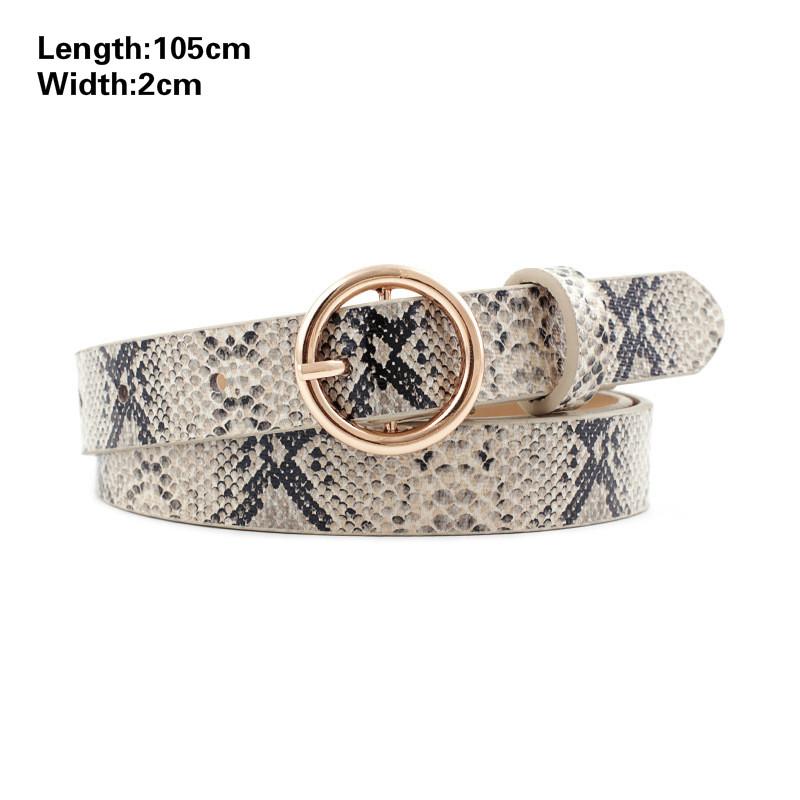2021 Fashion Leopard Belt Women Snake Zebra Print Thin Horsehair Waist Belt PU Leather Gold Ring Buckle Belts for Ladies Female