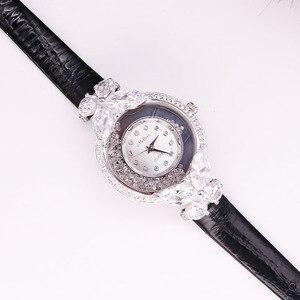 Image 2 - Bowknot Crystal Clock Lady Womens Watch Hours Japan Quartz Fashion Bracelet Leather Shell Luxury Rhinestones Girls Gift Box