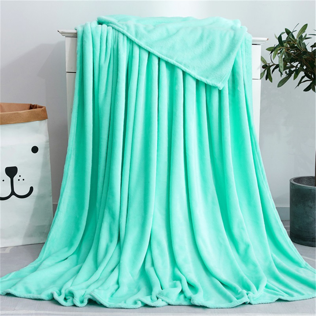 45# Throws Fleece Blanket Air Conditioning Bed Blanket Solid Super Soft Living Room Sofa Bedding Blanket Bedroom Accessories