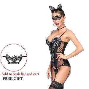 Image 2 - Женское сексуальное нижнее белье, бюстье, комплект нижнего белья в стиле ретро, прозрачный кружевной корсет с эффектом пуш ап