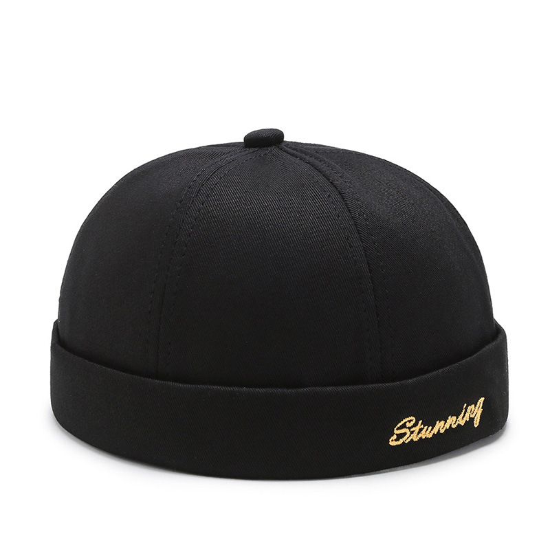 Spring And Summer New Casual Landlord Hat Street Melon Skin Tide Hats Without Brim Retro Hip Hop Cap Men And Women Universal Cap