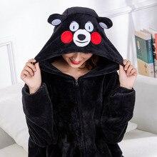Cartoon Pajama Kigurumis Onesies For Adults Women Witner Sleepwear Zipper Animal  kumamoto Bear Unisex Flannel Nightie