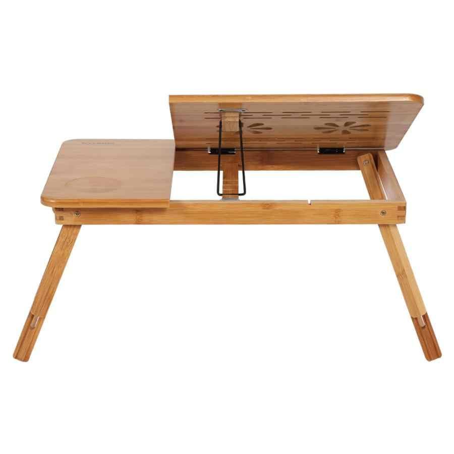 21 Inch-23 Inch Adjustable Rak Bambu Rak Asrama Tempat Tidur Lap Meja Portabel Membaca Buku Tray Stand Tempat Tidur Meja