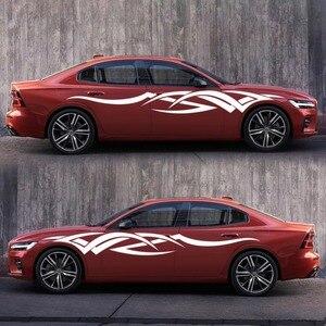 Image 4 - 2 adet vinil çıkartması araba vücut yan Wrap alev kabile grafik bel hattı Sticker yüksek kalite araba çıkartmaları yeni