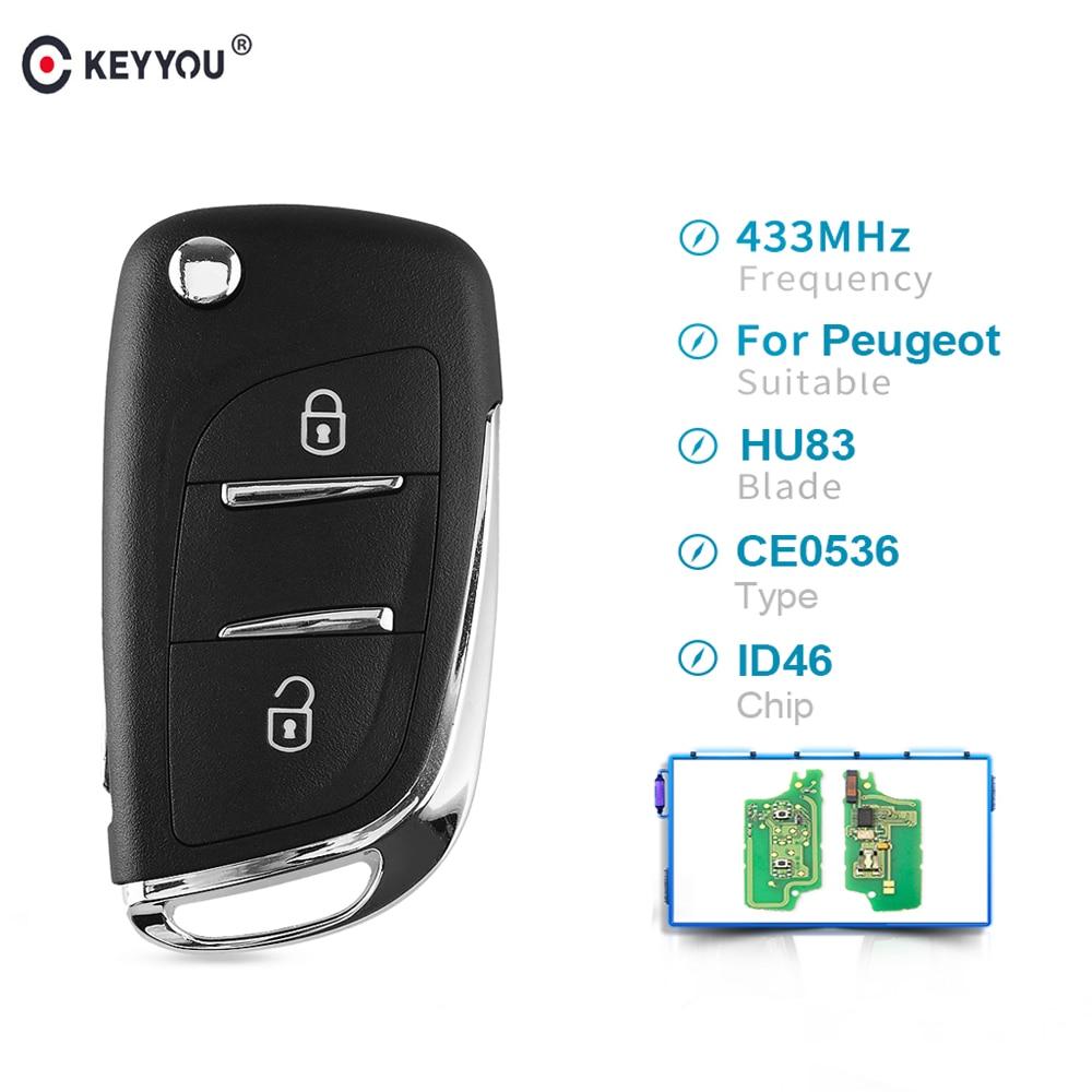 KEYYOU HCA/Hu83 2 Buttons Modified Remote Car Key For Peugeot 307 3008 308 408 433MHz PCF7961 ID46 CE0536 Flip Key Fob Auto Key|Car Key| |  -