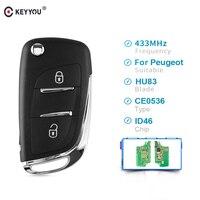 KEYYOU HCA/Hu83 2 Buttons Modified Remote Car Key For Peugeot 307 3008 308 408 433MHz PCF7961 ID46 CE0536 Flip Key Fob Auto Key Car Key     -
