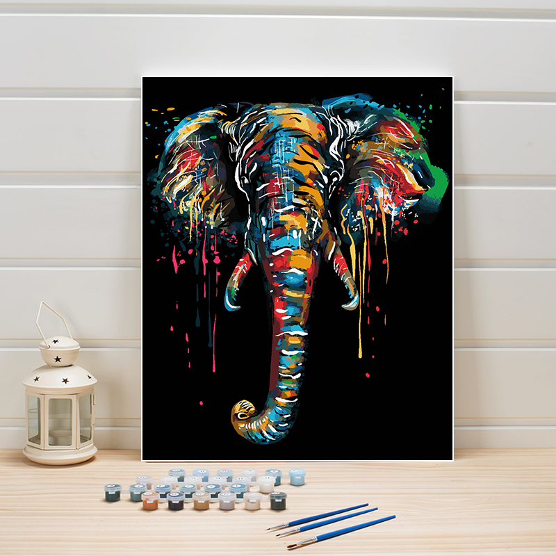 Canvas Oil Painting By Numbers 40x50CM Abstract Animal Elephant Paint Acrylic Coloring Wall Pictures For Living Room Adults Kits
