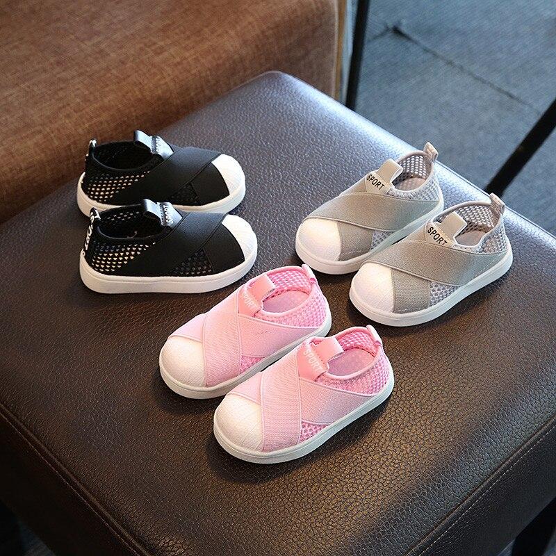 Mesh Breathable Light Children Casual Shoes Hook&Loop Lovely Cute Boys Girls Shoes Slip On European Kids Sneakers Footwear