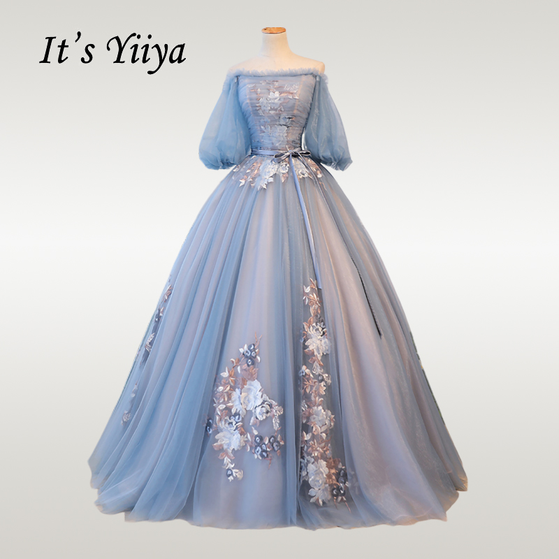 It's YiiYa Wedding Dress Elegant Blue Lantern Sleeve Wedding Dresses Bow Lace Plus Size Floor Length Robe De Mariee CH069