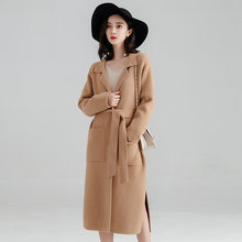 Office Lady Loose Womens Long Coats Outwear Winter Single Breasted Wool Blend Coat And Jacket Turn-down Collar Ladies Coats(China)