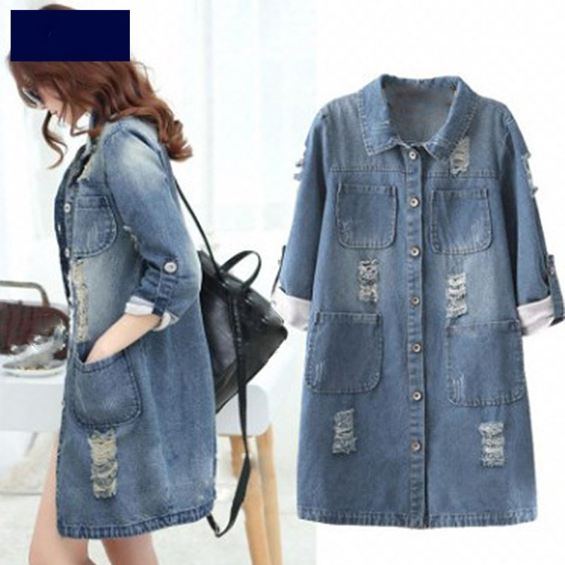 2019 Women Big Size Denim   Jacket   Long Outwear Jeans Coat Casual Frayed   Basic     Jackets   Female