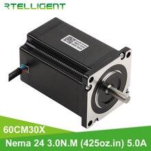 Rtelligent 3D Motore Della Stampante 4 Piombo Nema24 Motore Passo a Passo di 1.8DEG. 60 Motore 60CM30X 5.0A (425 Oz. in) per Macchina da Taglio Cnc Xyz