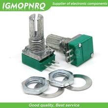 50 pces rk097n 5k 10k 20k 50k 100k 500k b5k com um interruptor de áudio 3pin eixo 15mm amplificador potenciômetro de vedação