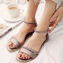 Gladiator Sandals Flip-Flops Ankle-Strap Beach-Shoes Flat Heel Gold Big-Size Genuine-Leather