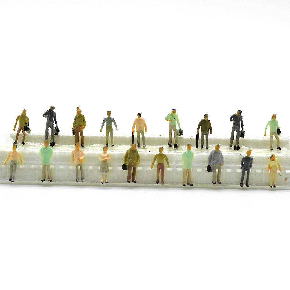1:100-300 Scale Model Color Figure People 100pcs Miniature Passenger Tiny Color People For Diorama Model Building Landscape