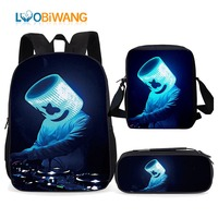 LUOBIWANG 3pcs Set Marshmello Backpack School Bags for Teenager Boys and Girls 2019 Waterproof School Student Backpack for Kids