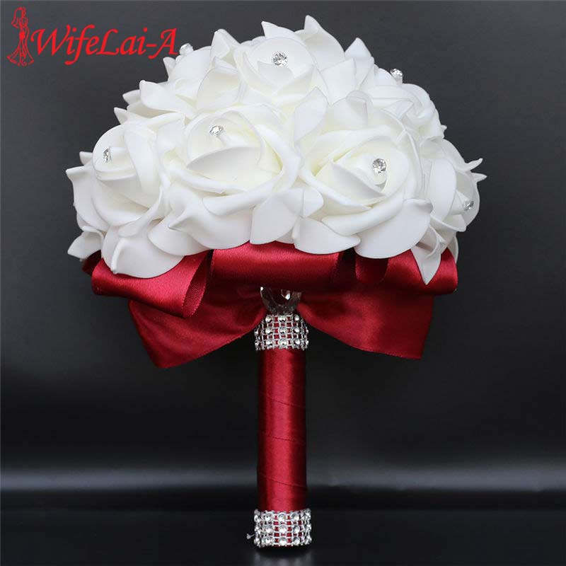 WifeLai-A European Crystal Bride Bridesmaid Holding Flowers Artificial Flower Simulation Bouquet PE Rose Wedding Bouquet W2017D