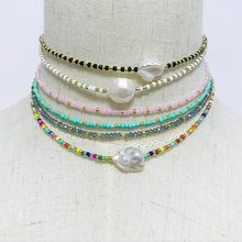 Bohemian Handmade Beaded Natural Pearl Choker Necklace Women Fashion Summer Baroque Irregular Pearl Necklaces Wedding Jewelry
